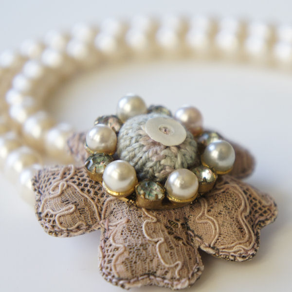 Louise Lovell handmade textile jewellery : Lace Flower